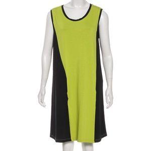 BALENCIAGA T'S Green Black Sleeveless Shift Dress